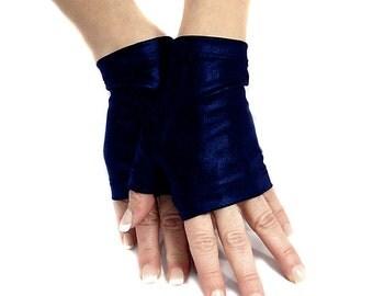 Navy blue shiny spandex fingerless gloves