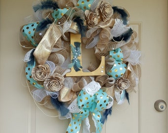 Glamour initial wreath