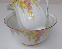 Pretty Royal Standard Sugar and Creamer Set, Cascading Pastel Flowers, Vintage English China Sugar Bowl and Milk Jug