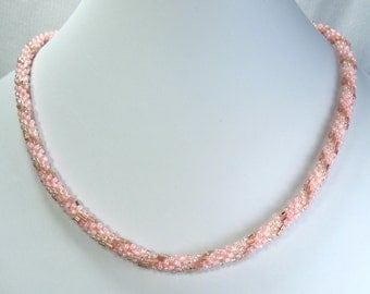 """Hand Crocheted Pink with Gold Glass Seed Bead Necklace 18"""""""