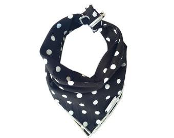 THE SAL Dog Bandana: Polka dot Dog Bandana Black and White and Silver trim Sizes xs, s, m, l, xl