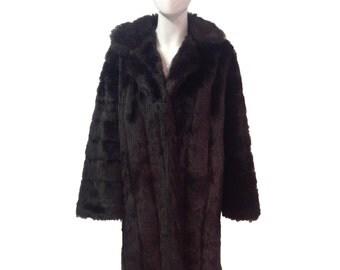 SALE! Vintage chocolate brown faux fur coat