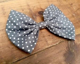 Grey Polka Dot Hair Bow, Womens Hair Bow, Polka Dot Hair Clip, Womens Hair Clip, Womens Hair Accessory, Womens Hair Clip, Retro, Vintage Bow