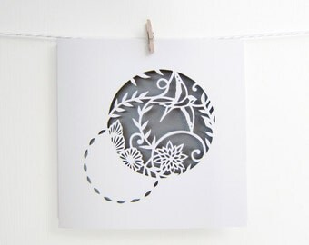 Bird Papercut Print Card, Patterned Swallow Square Card