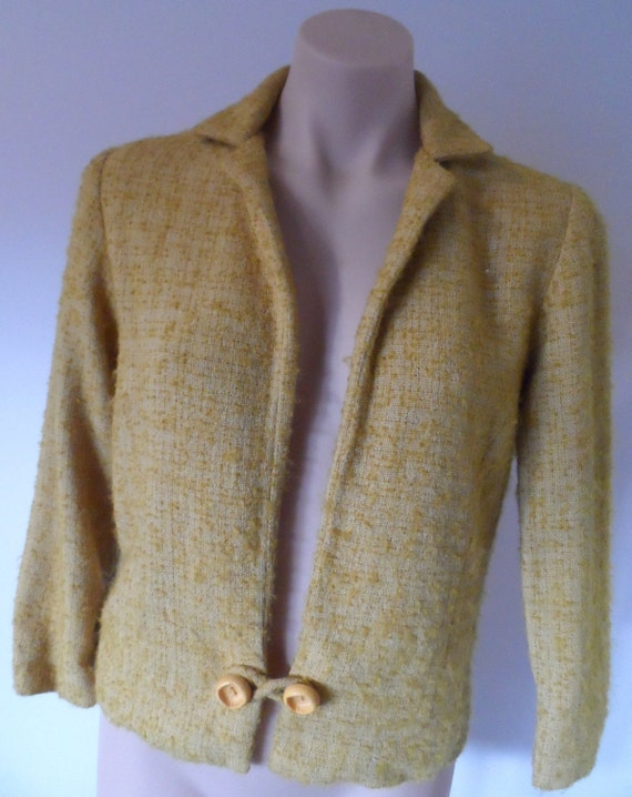 TOWN CRAFT Boucle mustard gold waist Jacket - Size SSW - see measurements - vintage