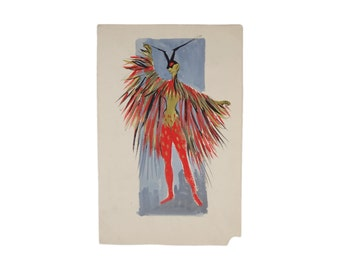 Andre Delfau Original Gouache Painting Costume Design Red Butterfly Dancer