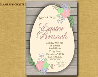 Easter Invitation, Easter Brunch Invitation, Easter Egg Hunt Invitation, Rustic, Egg, Easter, Invitation, Easter Invite, Brunch Invitation