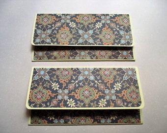 Money envelopes in dark blue and cream Mediterranean tile design (set of 2)