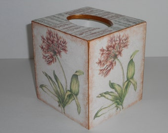 Tissue Box Cover, Decoupage Wooden Tissue Box  Holder, Vintage Style
