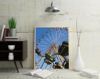 Ferris Wheel Print, Carnival Wall Print, Ferris Wheel Art, Carnival Art, Carnival Wall Decor, Instant Download, Blue Wall Art, Wall Pictures
