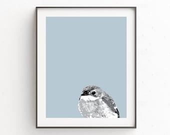 Print Bird, Cyan Art, Blue Bird, Printable Wall Art, Wall Art Blue, Blue Decor, Nursery Art, Instant Printable, Bird Decor, Wall Art Prints