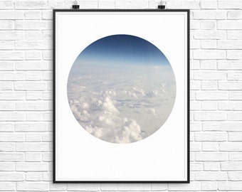 Cloud Wall Print, Minimalist Art, Cloud Poster, Blue and White, Sky Poster, Circle Photo, Minimalist Poster, Downloadable Art