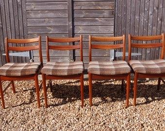 Smashing! Set Of Four Retro Danish Style Dining Chairs