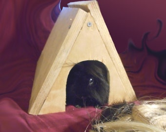 Pet House Reclaimed Wood Guinea Pig Wooden House Small Animal Hideout Hardwood Shelter Handmade Hidey Hut   Delta SKU H56D