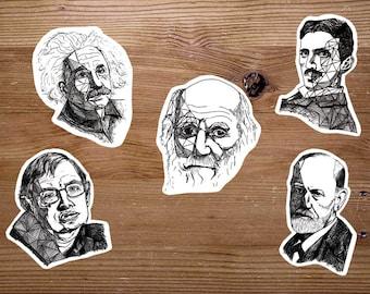 Hand Drawn Science Stickers - Set of 5 Scientist Handdrawn Stickers - Darwin, Einstein, Tesla, Freud, Hawking -Math/Psychology/Science Gifts