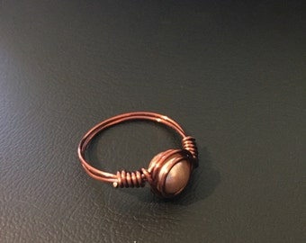 Copper Wire & Pearl Bead Ring - Size 8