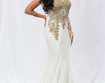 White and Gold Dress Gown with trail