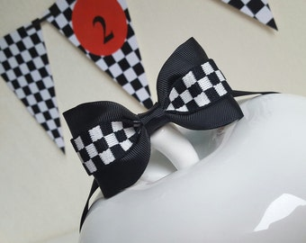 Checkered bow tie/black and white checkered bow tie/race car birthday/race car party/race car birthday outfit/checkered flag bow tie