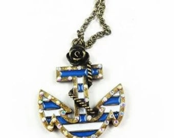 blue and white anchor necklace