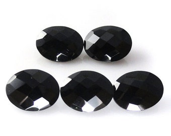 Natural Black Spinel 8x6mm- 9x7mm -8x10mm -9x11mm -10x12mm -10x14mm -12x16mm  Checkerboard Cut Oval Black Color - Natural Loose Gemstone