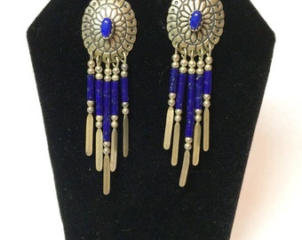 Vintage Southwest sterling and lapis earrings .