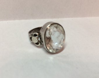 Large sterling silver clear quartz gemstone statment ring