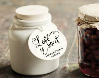 SET OF 24 Round Custom Love is sweet FAvor tags. Wedding CUSTOM Thank you Tags, Metallic Favor tags, elegant favor tags. Love is Sweet Tags
