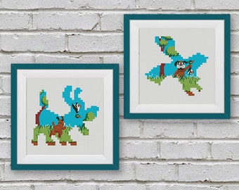 BOGO FREE! Duck Hunt Cross Stitch Pattern, Retro Nintendo Video Games Cross Stitch Chart, Embroidery Needlework PDF Instant Download #010-3