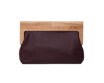 Leather and wood clutch bag   Wood detail leather purse