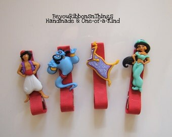 Aladdin | Hair Clips for Girls | Toddler Barrette | Kids Hair Accessories | Ruby Red Grosgrain Ribbon | No Slip Grip