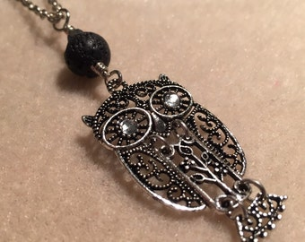 Owl Necklace. Lava Bead Diffuser for Essential Oil Aromatherapy. Silver Filigree Owl with Crystal Eyes. Black Lava Bead, Chain Included.