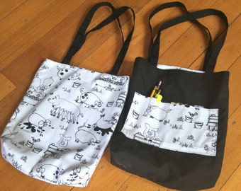 Black & White Pig Fully Reversible Bag,Tote,Beach,Shopping,Library Bag,39cmx37cm