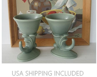 Pair of RumRill Art Deco Cornucopia Vases by Red Wing Pottery 1937