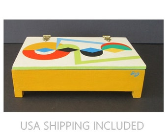 Mod 1960's Geometrics Hand Painted and Signed Box