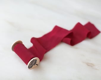 "Crimson, red silk ribbon, 2.5"" wide, by the yard: hand made, plant dyed."