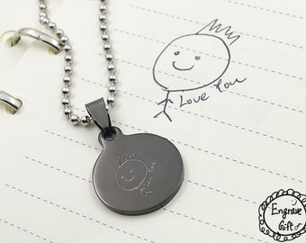 In Memory Of Handwriting Jewelry, Black Circle with YOUR Handwriting, Personalized Necklace, Signature Necklace, Handwritten Necklace