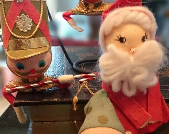 Set of 4 Vintage Felt Christmas Ornaments/Made in Japan/ Toy Soldiers/ broom Santa/ Elf/