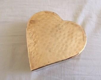 Vintage Brass Heart Shaped Flower Vase