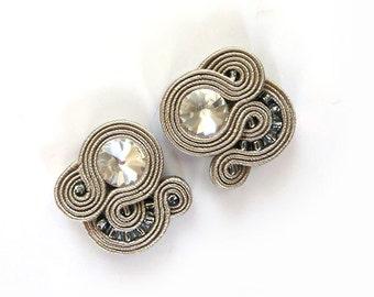Beige studs earrings Soutache Earrings beigeearrings beige earstuds small studs crystal studs