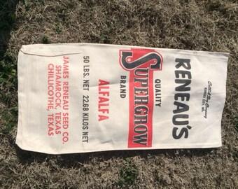 Vintage 50s Reneau's Supergrow Brand seed bag/seed sack