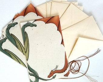 There Be Dragons stationery letter writing set - handmade paper - original artwork - fantasy art - storytelling