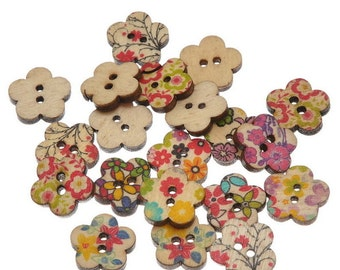 Wooden Flower Buttons - Set of 10 Floral/Flower Crafting Sewing Buttons