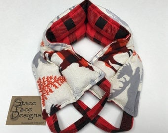 Plaid Moose Neck Heating Pad, Neck Wrap, Rice Pack, Heat Pad, Heat Pack, Rice Bag, Pain Relief, Heat Therapy, essential oils lavender