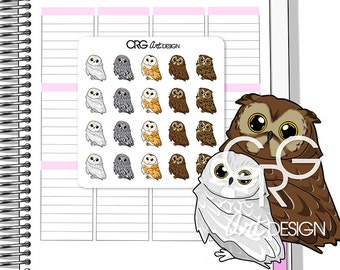 Kawaii Owl Stickers  | Planner Erin Condren Plum Planner Filofax Sticker