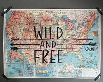 United States Map // Vintage Style Map // Wild and Free