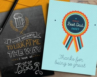 Funny Blackboard Quote for Men & Sweet Best Dad Award Fathers Day Card set of 2 INSTANT DOWNLOAD
