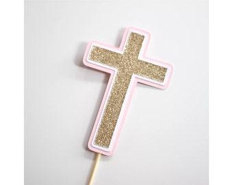 Christening Baptism Cross Cake Topper Pink White Gold Glitter