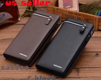 long wallet,leather wallet,,women wallet, zippered wallet, wallet brown,clack wallet, checkbook holder, Bifold wallet