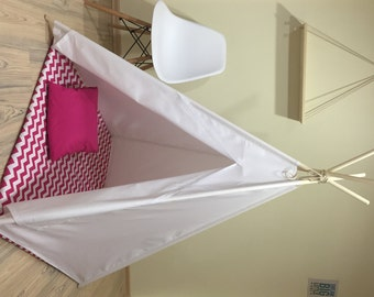 White teepee kids teepee play tent Natural White Canvas Plain Kids Teepee pink chevron : childrens play tents teepees - memphite.com