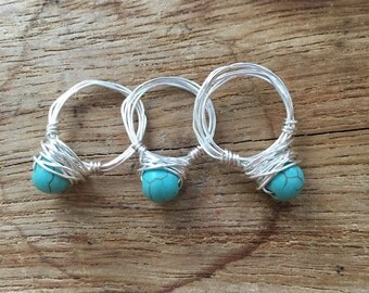 Turquiose stone wire ring